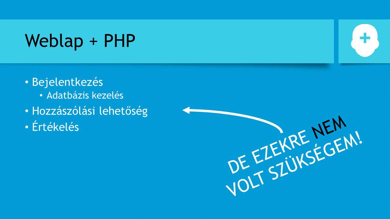 Weblap + PHP Bejelentkezés Adatbázis kezelés Hozzászólási lehetőség Értékelés DE EZEKRE NEM VOLT SZÜKSÉGEM!
