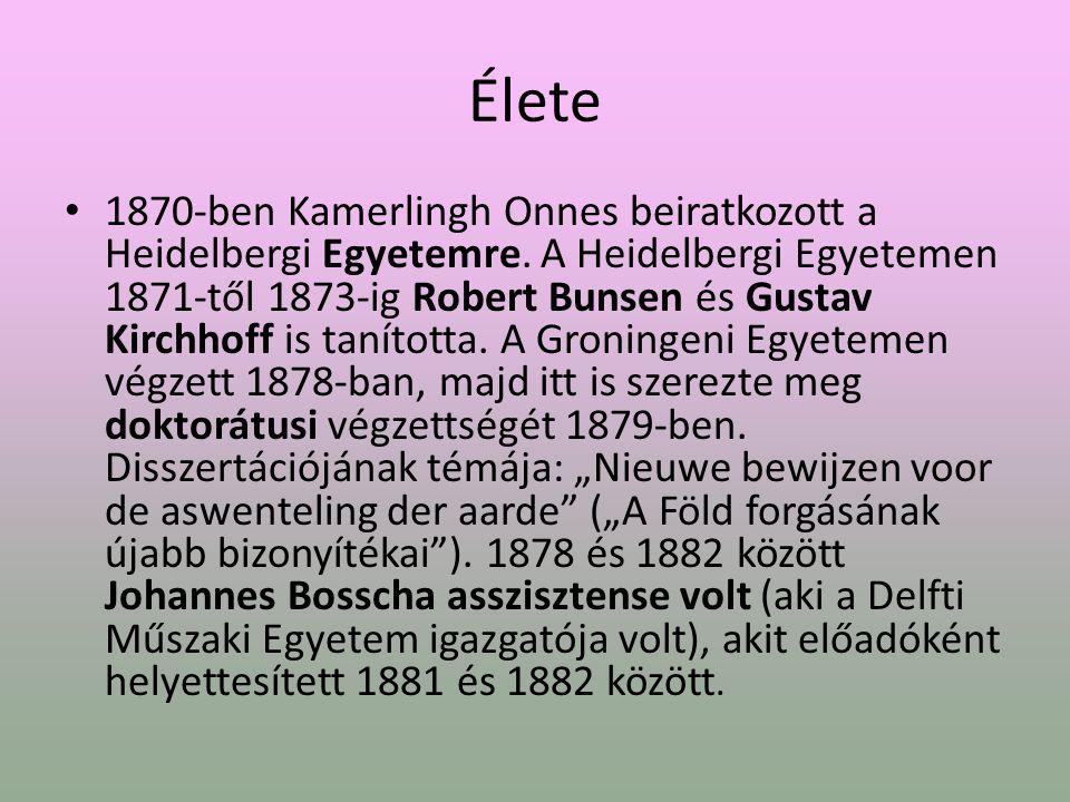Élete 1870-ben Kamerlingh Onnes beiratkozott a Heidelbergi Egyetemre.