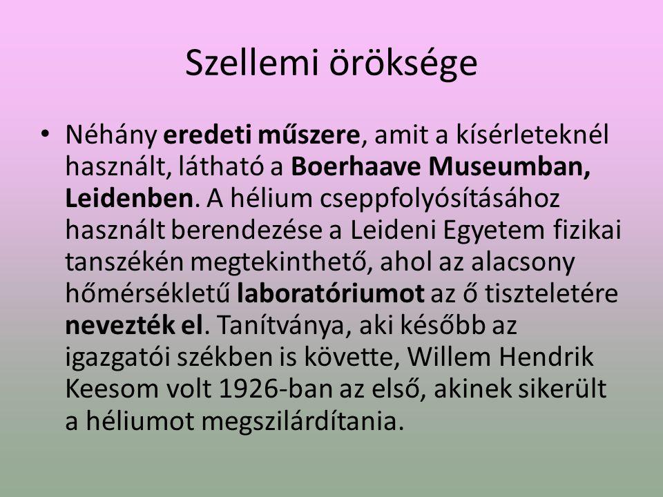 Szellemi öröksége Néhány eredeti műszere, amit a kísérleteknél használt, látható a Boerhaave Museumban, Leidenben.