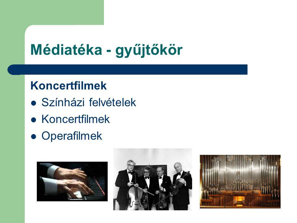 Médiatéka - gyűjtőkör Koncertfilmek Színházi felvételek Koncertfilmek Operafilmek