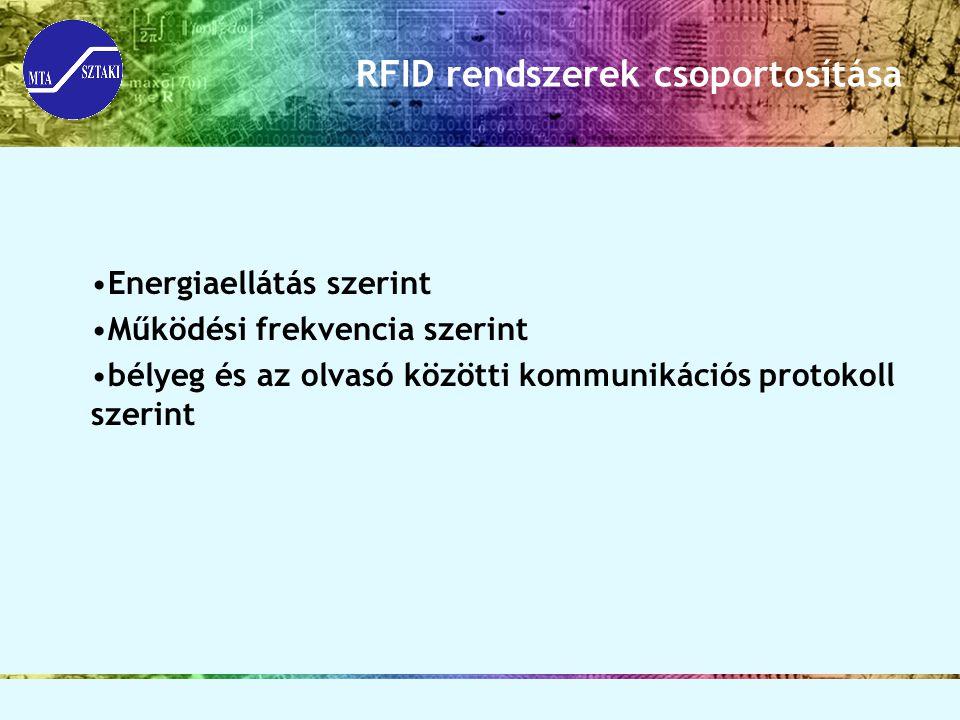 RFID rendszerek csoportosítása Energiaellátás szerint Működési frekvencia szerint bélyeg és az olvasó közötti kommunikációs protokoll szerint