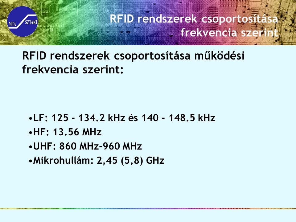 RFID rendszerek csoportosítása frekvencia szerint RFID rendszerek csoportosítása működési frekvencia szerint: LF: 125 - 134.2 kHz és 140 - 148.5 kHz H