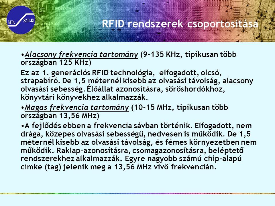 Alacsony frekvencia tartomány (9-135 KHz, tipikusan több országban 125 KHz) Ez az 1. generációs RFID technológia, elfogadott, olcsó, strapabíró. De 1,