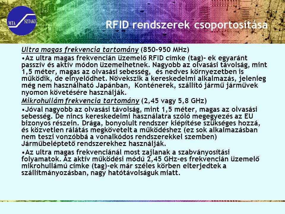 RFID rendszerek csoportosítása Ultra magas frekvencia tartomány (850-950 MHz) Az ultra magas frekvencián üzemelő RFID címke (tag)- ek egyaránt passzív