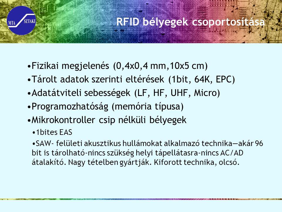 RFID bélyegek csoportosítása Fizikai megjelenés (0,4x0,4 mm,10x5 cm) Tárolt adatok szerinti eltérések (1bit, 64K, EPC) Adatátviteli sebességek (LF, HF
