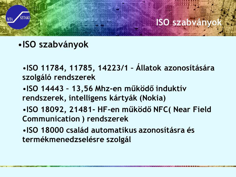 ISO szabványok ISO 11784, 11785, 14223/1 – Állatok azonosítására szolgáló rendszerek ISO 14443 – 13,56 Mhz-en működő induktív rendszerek, intelligens