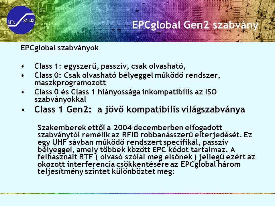 EPCglobal Gen2 szabvány EPCglobal szabványok Class 1: egyszerű, passzív, csak olvasható, Class 0: Csak olvasható bélyeggel működő rendszer, maszkprogr