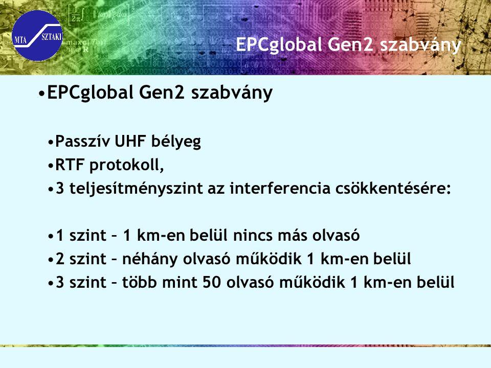 EPCglobal Gen2 szabvány Passzív UHF bélyeg RTF protokoll, 3 teljesítményszint az interferencia csökkentésére: 1 szint – 1 km-en belül nincs más olvasó