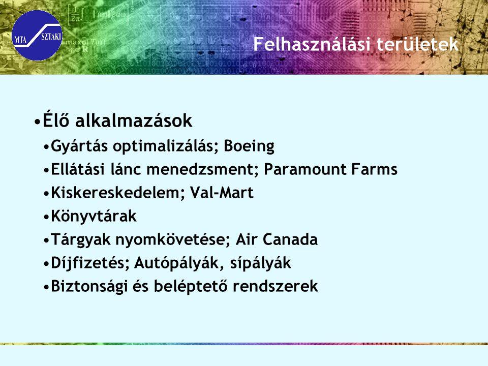 Felhasználási területek Élő alkalmazások Gyártás optimalizálás; Boeing Ellátási lánc menedzsment; Paramount Farms Kiskereskedelem; Val-Mart Könyvtárak