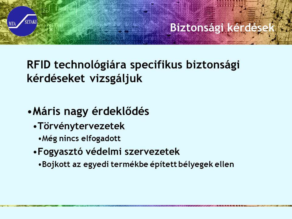 Biztonsági kérdések RFID technológiára specifikus biztonsági kérdéseket vizsgáljuk Máris nagy érdeklődés Törvénytervezetek Még nincs elfogadott Fogyas