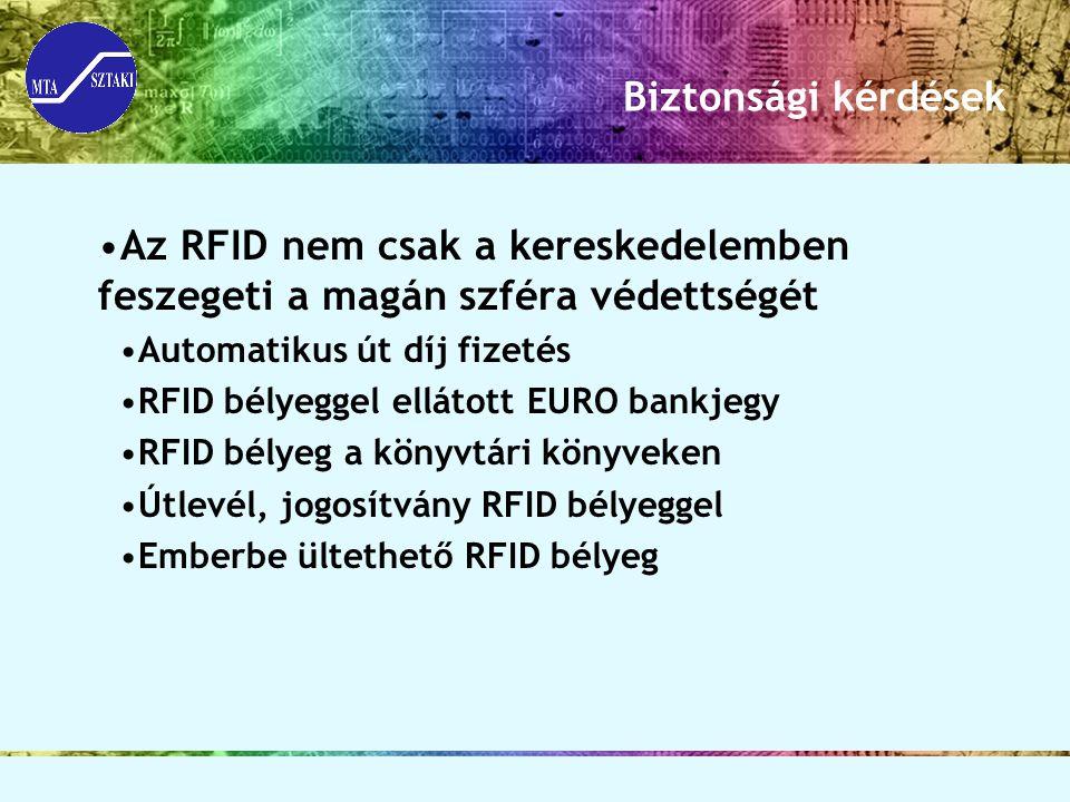 Biztonsági kérdések Az RFID nem csak a kereskedelemben feszegeti a magán szféra védettségét Automatikus út díj fizetés RFID bélyeggel ellátott EURO ba