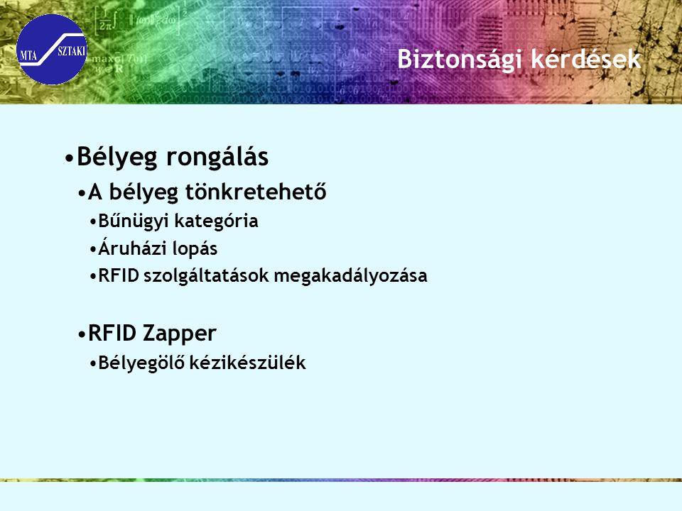 Biztonsági kérdések Bélyeg rongálás A bélyeg tönkretehető Bűnügyi kategória Áruházi lopás RFID szolgáltatások megakadályozása RFID Zapper Bélyegölő ké