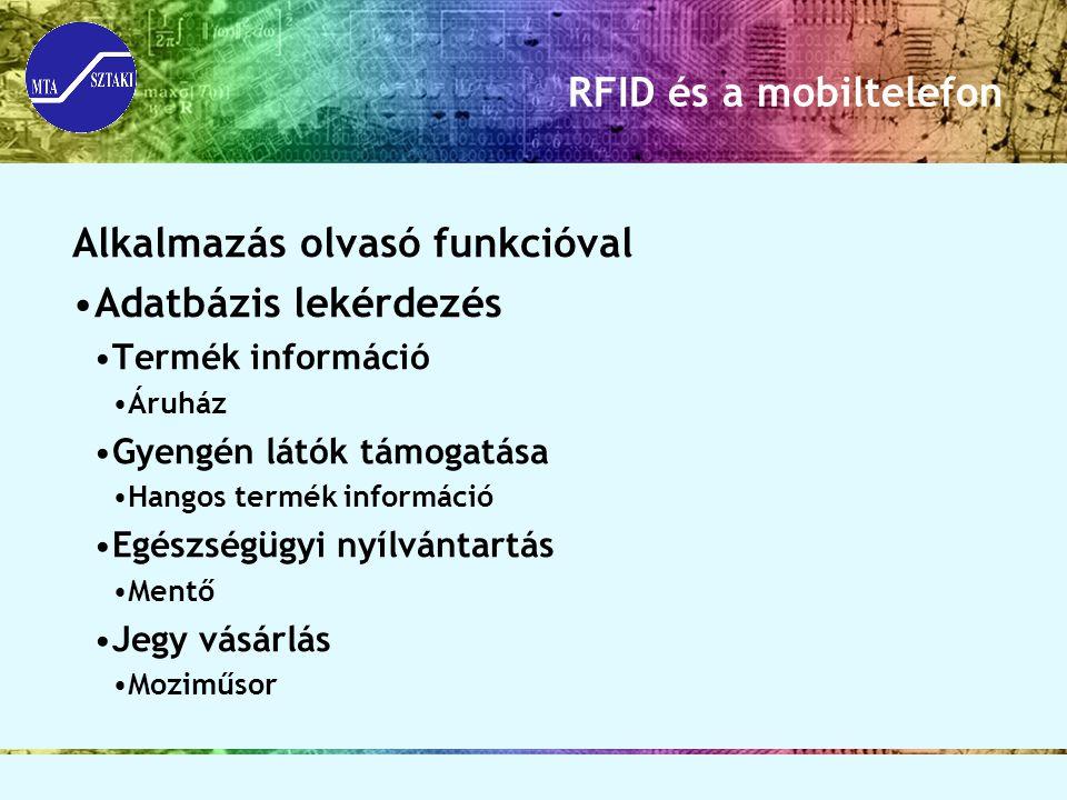 RFID és a mobiltelefon Alkalmazás olvasó funkcióval Adatbázis lekérdezés Termék információ Áruház Gyengén látók támogatása Hangos termék információ Eg