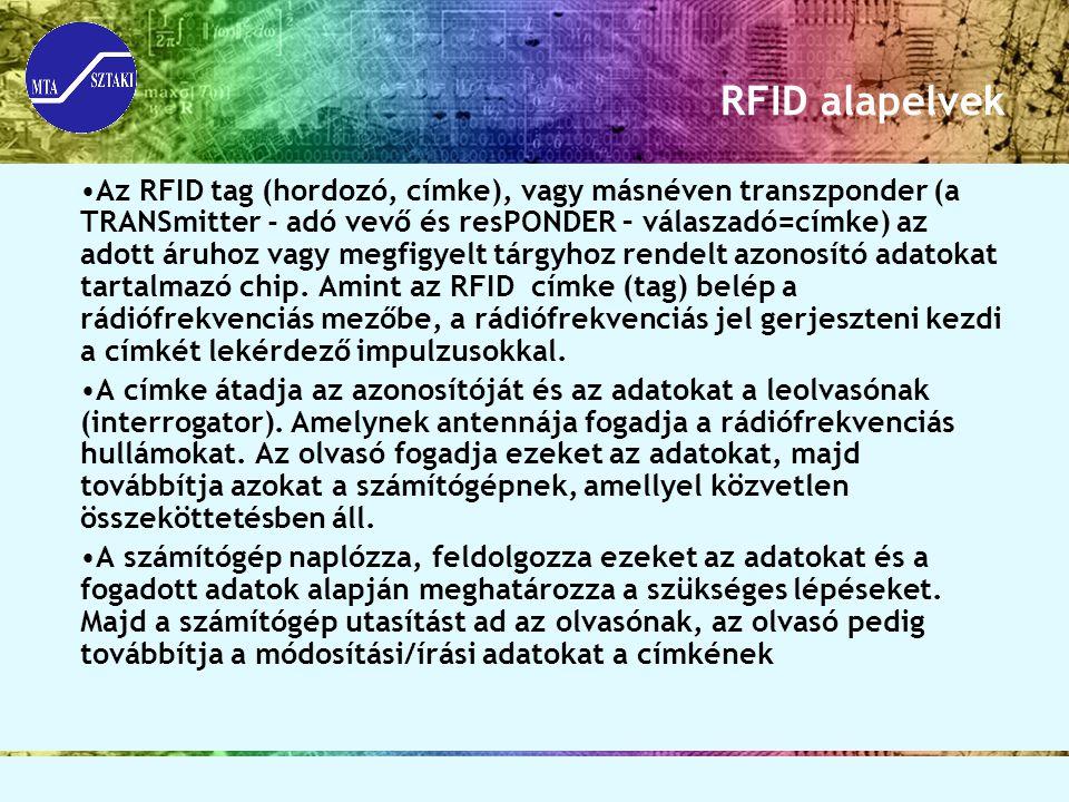 RFID alapelvek Az RFID tag (hordozó, címke), vagy másnéven transzponder (a TRANSmitter - adó vevő és resPONDER – válaszadó=címke) az adott áruhoz vagy
