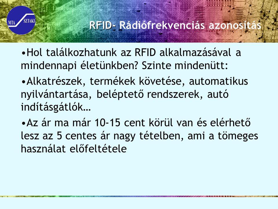 RFID- RFID- Rádiófrekvenciás azonosítás Hol találkozhatunk az RFID alkalmazásával a mindennapi életünkben? Szinte mindenütt: Alkatrészek, termékek köv