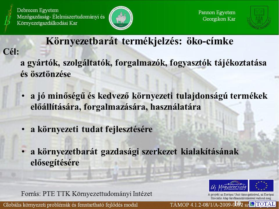 Környezetbarát termékjelzés: öko-címke a jó minőségű és kedvező környezeti tulajdonságú termékek előállítására, forgalmazására, használatára a környezeti tudat fejlesztésére a környezetbarát gazdasági szerkezet kialakításának elősegítésére Cél: a gyártók, szolgáltatók, forgalmazók, fogyasztók tájékoztatása és ösztönzése Forrás: PTE TTK Környezettudományi Intézet