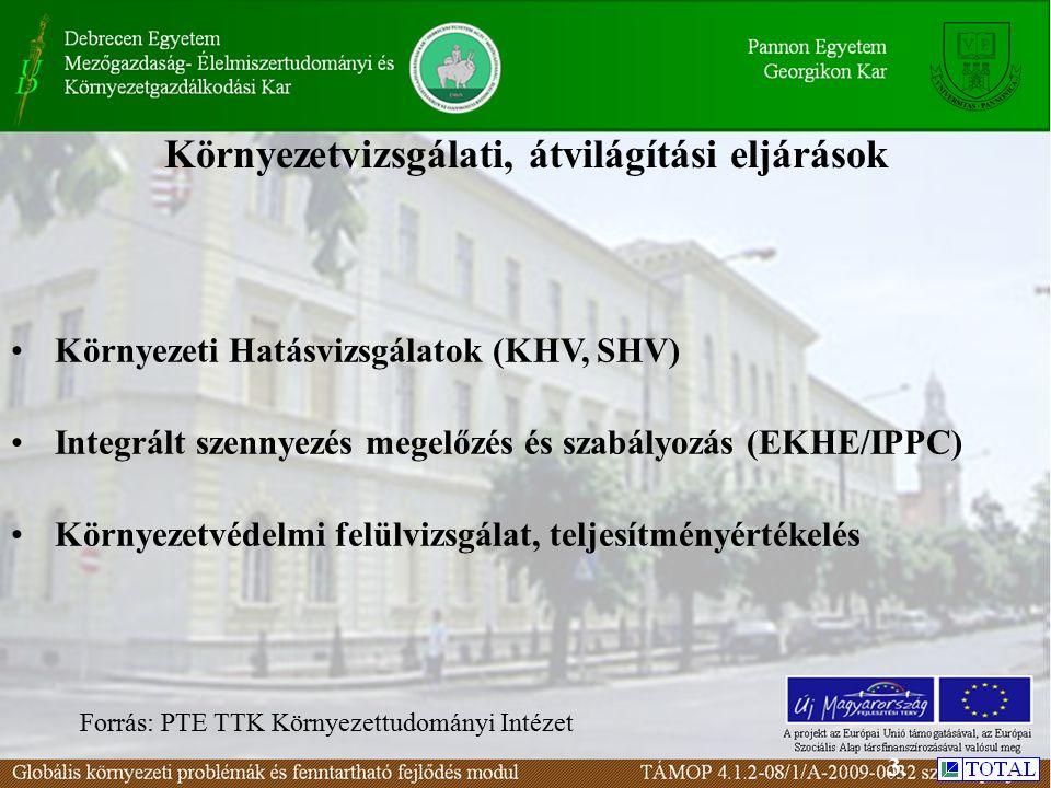 Környezetvizsgálati, átvilágítási eljárások Környezeti Hatásvizsgálatok (KHV, SHV) Integrált szennyezés megelőzés és szabályozás (EKHE/IPPC) Környezetvédelmi felülvizsgálat, teljesítményértékelés Forrás: PTE TTK Környezettudományi Intézet