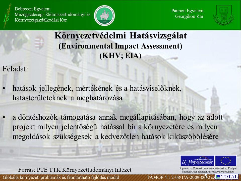 Környezetvédelmi Hatásvizsgálat (Environmental Impact Assessment) (KHV; EIA) Feladat: hatások jellegének, mértékének és a hatásviselőknek, hatásterületeknek a meghatározása a döntéshozók támogatása annak megállapításában, hogy az adott projekt milyen jelentőségű hatással bír a környezetére és milyen megoldások szükségesek a kedvezőtlen hatások kiküszöbölésére Forrás: PTE TTK Környezettudományi Intézet