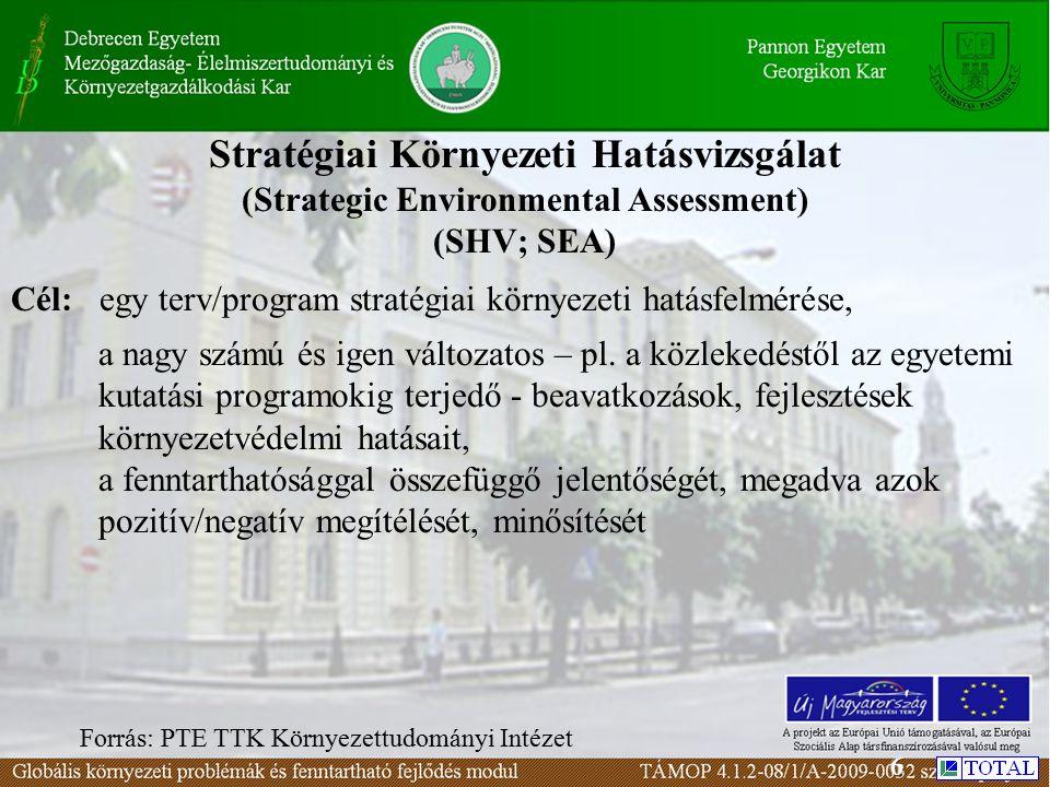 Stratégiai Környezeti Hatásvizsgálat (Strategic Environmental Assessment) (SHV; SEA) Cél: egy terv/program stratégiai környezeti hatásfelmérése, a nagy számú és igen változatos – pl.