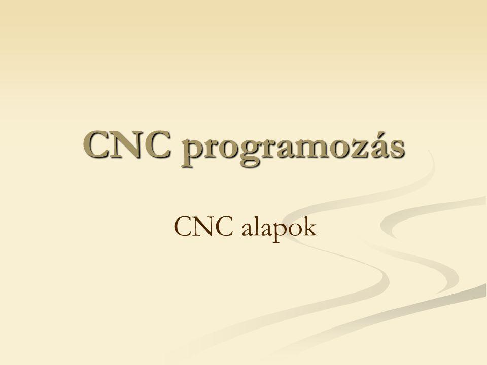 Vezérlő berendezések fajtái CNC vezérlő: Számítógépes NC Lelke egy processzorokból felépített számítógép Nem fix huzalozású hanem szabadon programozható logikájú Adatfeldolgozási rendjét nem a fix huzalozás, hanem a processzor memóriájában elhelyezett rendszerprogram szolgáltatja Egy időben több program is tárolható a memóriában Mód van a programok láncolására (alprogram technika) Lehetőség van a géphibák kompenzálására (pl.: holtjáték kiküszöbölése) Programciklusok szervezhetők Öndiagnosztika: CNC hibáinak feltárása Adatmegjelenítés képernyőn történik  grafikus tesztelés