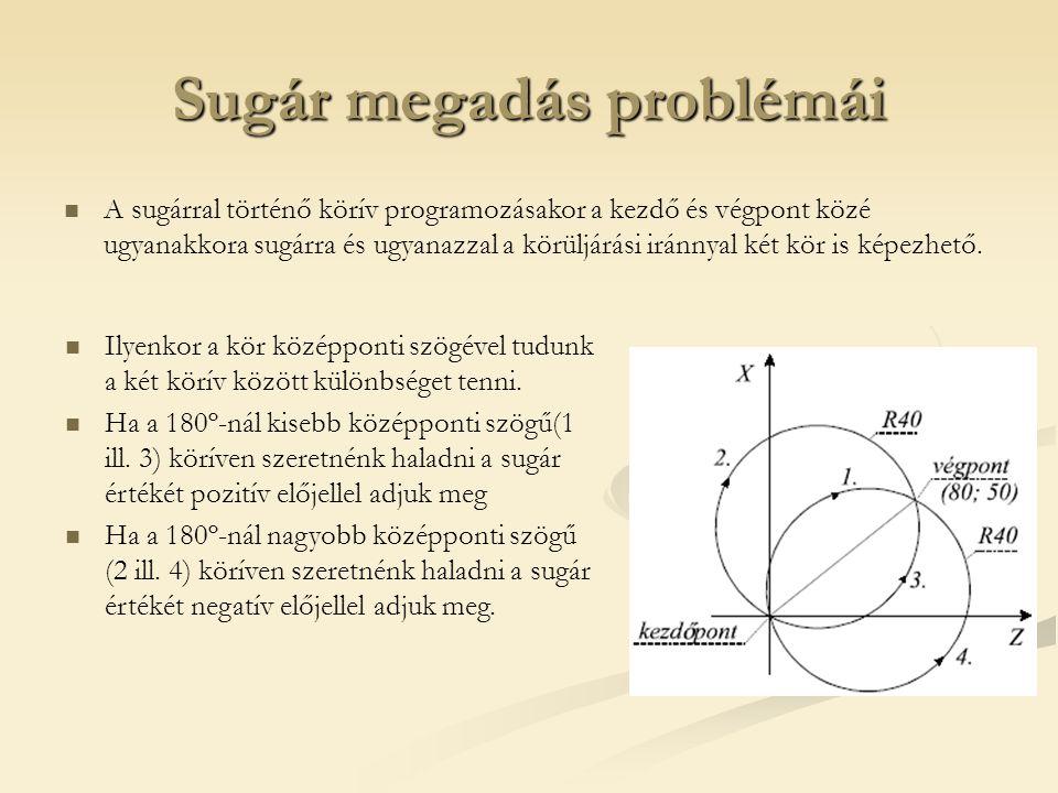Sugár megadás problémái A sugárral történő körív programozásakor a kezdő és végpont közé ugyanakkora sugárra és ugyanazzal a körüljárási iránnyal két