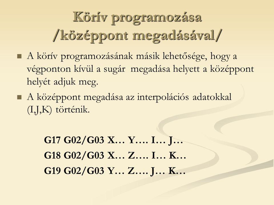 Körív programozása /középpont megadásával/ A körív programozásának másik lehetősége, hogy a végponton kívül a sugár megadása helyett a középpont helyé