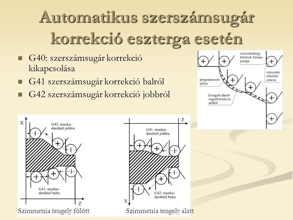 Automatikus szerszámsugár korrekció eszterga esetén G40: szerszámsugár korrekció kikapcsolása G41 szerszámsugár korrekció balról G42 szerszámsugár kor