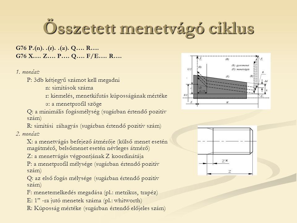 Összetett menetvágó ciklus G76 P.(n)..(r)..(α). Q…. R…. G76 X…. Z…. P…. Q…. F/E…. R…. 1. mondat: P: 3db kétjegyű számot kell megadni n: simítások szám