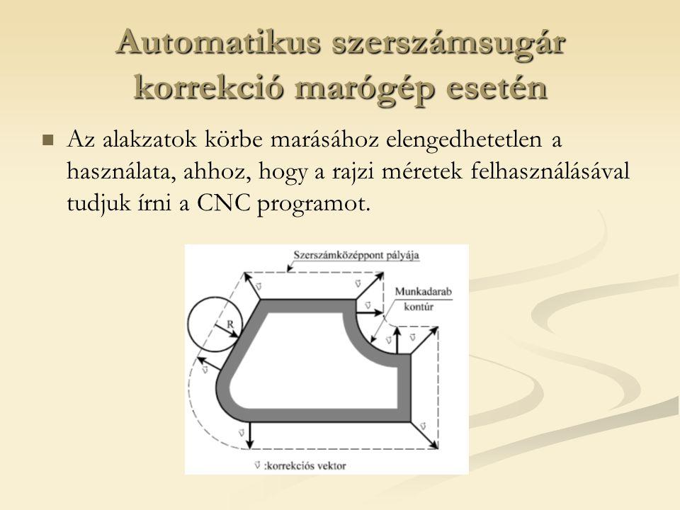 Automatikus szerszámsugár korrekció marógép esetén Az alakzatok körbe marásához elengedhetetlen a használata, ahhoz, hogy a rajzi méretek felhasználás
