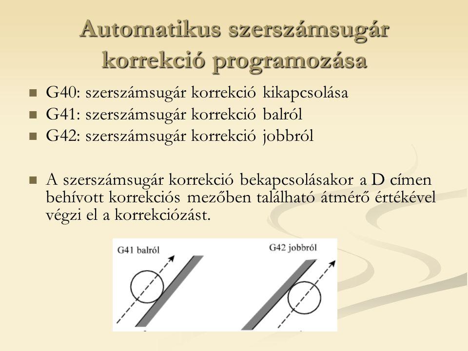 Automatikus szerszámsugár korrekció programozása G40: szerszámsugár korrekció kikapcsolása G41: szerszámsugár korrekció balról G42: szerszámsugár korr