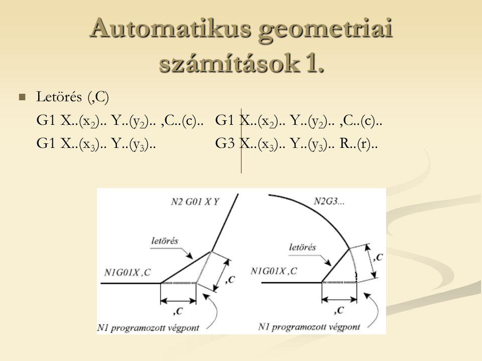 Automatikus geometriai számítások 1. Letörés (,C) G1 X..(x 2 ).. Y..(y 2 )..,C..(c).. G1 X..(x 3 ).. Y..(y 3 ).. G3 X..(x 3 ).. Y..(y 3 ).. R..(r)..