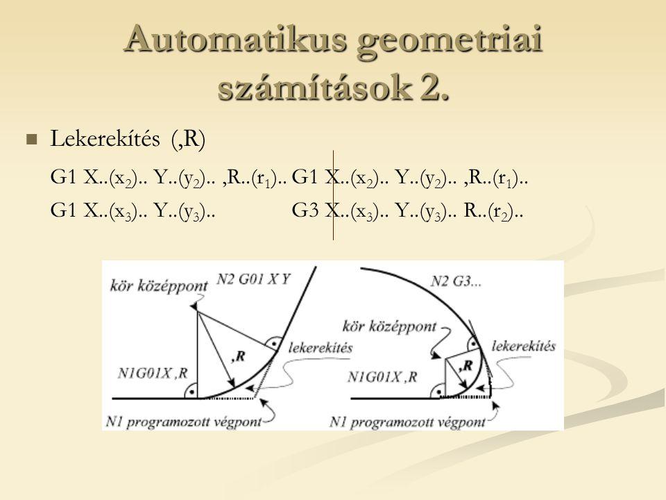 Automatikus geometriai számítások 2. Lekerekítés (,R) G1 X..(x 2 ).. Y..(y 2 )..,R..(r 1 )..G1 X..(x 2 ).. Y..(y 2 )..,R..(r 1 ).. G1 X..(x 3 ).. Y..(