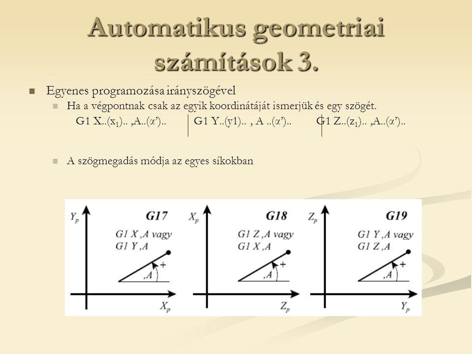 Automatikus geometriai számítások 3. Egyenes programozása irányszögével Ha a végpontnak csak az egyik koordinátáját ismerjük és egy szögét. G1 X..(x 1