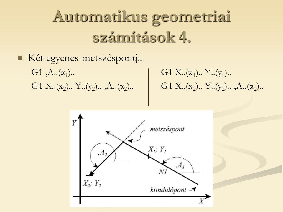 Automatikus geometriai számítások 4. Két egyenes metszéspontja G1,A..(α 1 ).. G1 X..(x 1 ).. Y..(y 1 ).. G1 X..(x 2 ).. Y..(y 2 )..,A..(α 2 )..