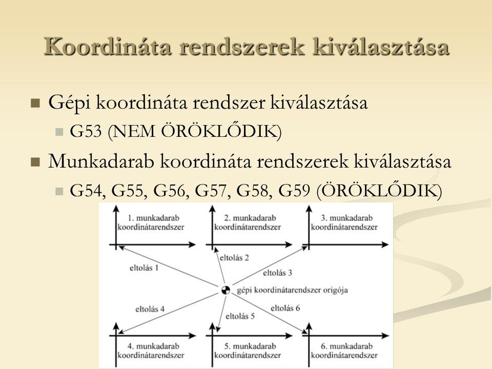 Koordináta rendszerek kiválasztása Gépi koordináta rendszer kiválasztása G53 (NEM ÖRÖKLŐDIK) Munkadarab koordináta rendszerek kiválasztása G54, G55, G