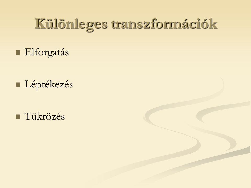 Különleges transzformációk Elforgatás Léptékezés Tükrözés