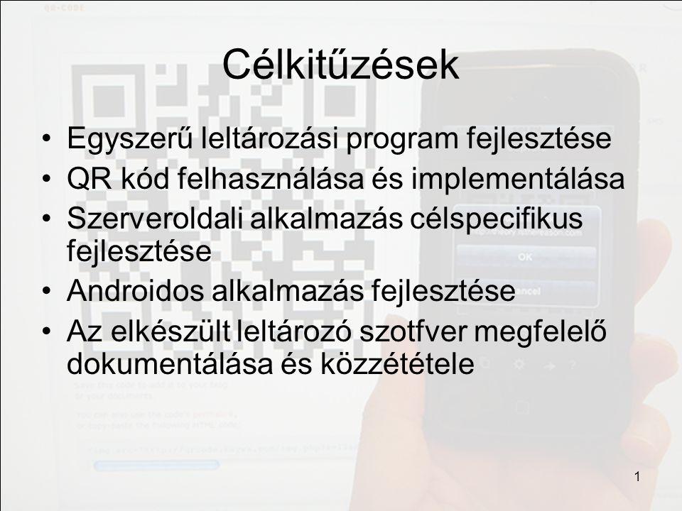 Célkitűzések Egyszerű leltározási program fejlesztése QR kód felhasználása és implementálása Szerveroldali alkalmazás célspecifikus fejlesztése Androi