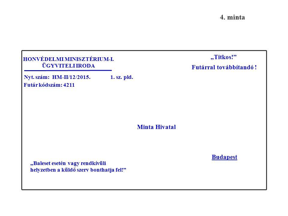 Feladó: Állami Futárszolgálat Központi Levélrendező Alosztály Listaszám: M000018 Oldalszám: 1/1 2. sz. pld. F U T Á R J E G Y Z É K Címzett: Minta Hiv