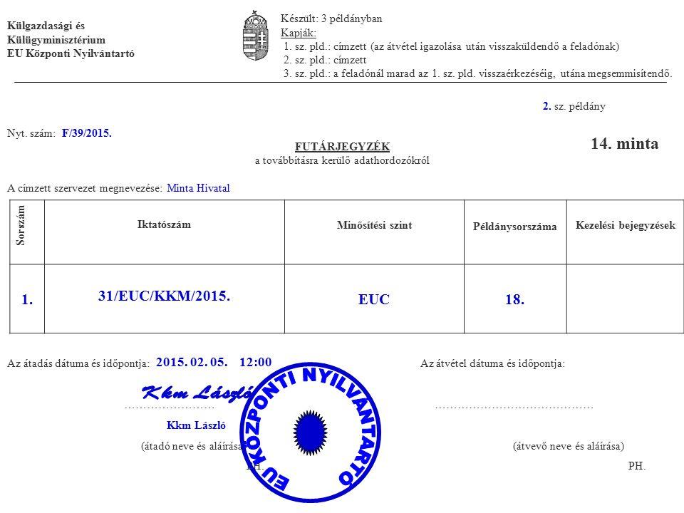 1. sz. példány Nyt. szám: F/39/2015. FUTÁRJEGYZÉK a továbbításra kerülő adathordozókról A címzett szervezet megnevezése: Minta Hivatal Iktatószám Minő
