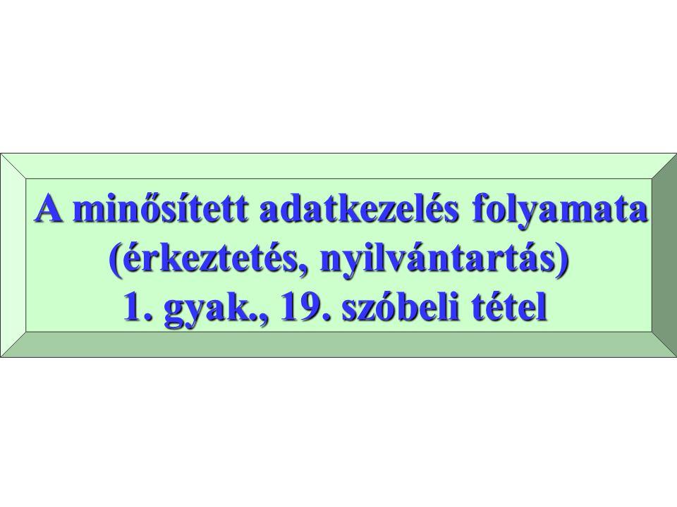 A minősített adatkezelés folyamata A minősített adatkezelés folyamata (érkeztetés, nyilvántartás) 1.