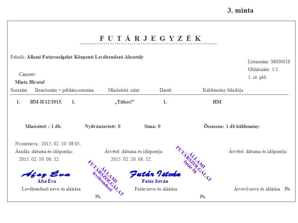Feladó: Állami Futárszolgálat Központi Levélrendező Alosztály Listaszám: M000018 Oldalszám: 1/1 1.
