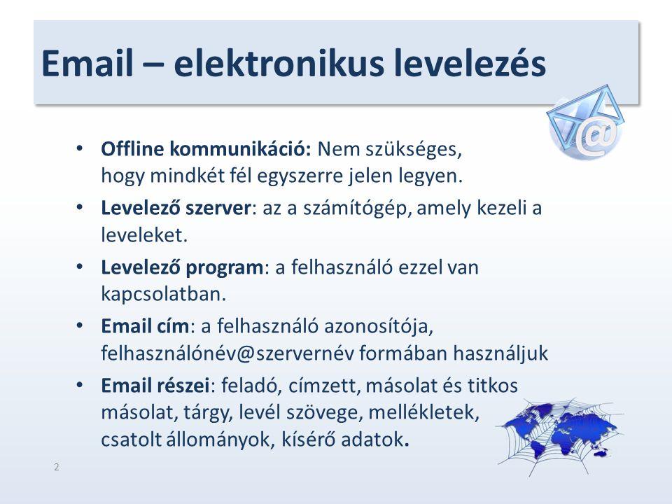 Email – elektronikus levelezés Offline kommunikáció: Nem szükséges, hogy mindkét fél egyszerre jelen legyen. Levelező szerver: az a számítógép, amely