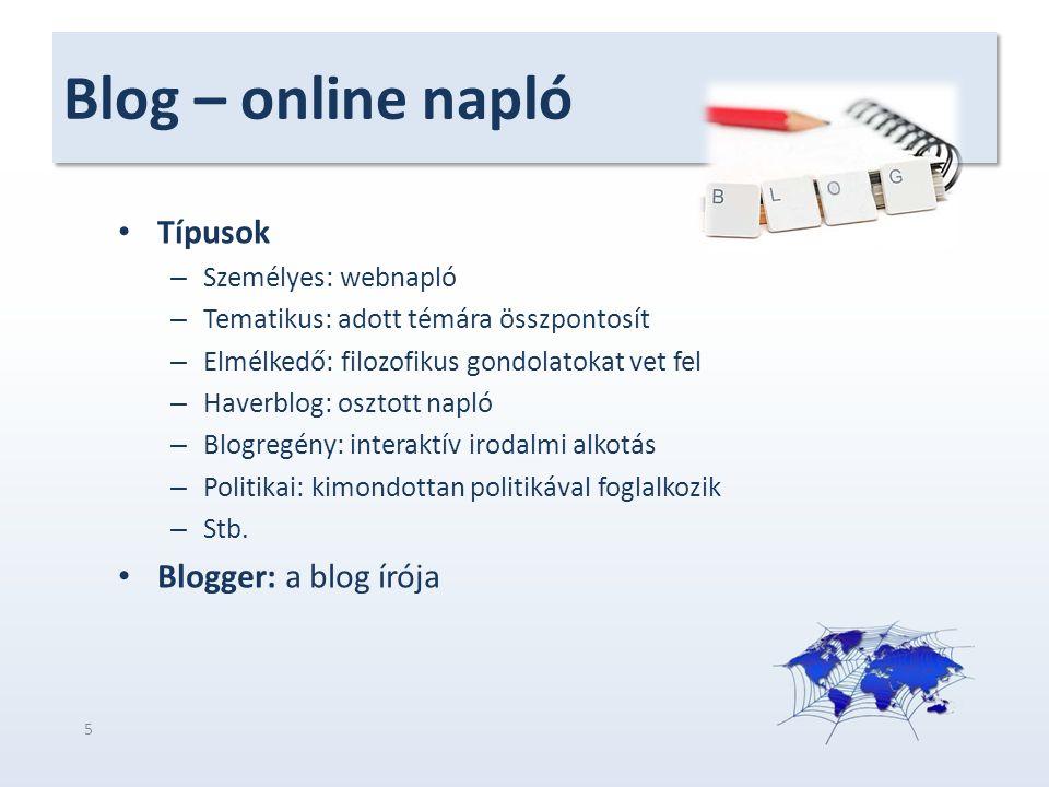 Blog – online napló Típusok – Személyes: webnapló – Tematikus: adott témára összpontosít – Elmélkedő: filozofikus gondolatokat vet fel – Haverblog: os
