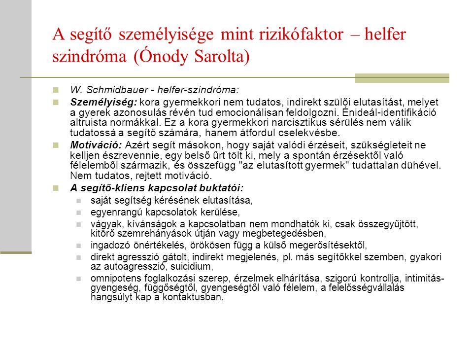 A segítő személyisége mint rizikófaktor – helfer szindróma (Ónody Sarolta) W. Schmidbauer - helfer-szindróma: Személyiség: kora gyermekkori nem tudato
