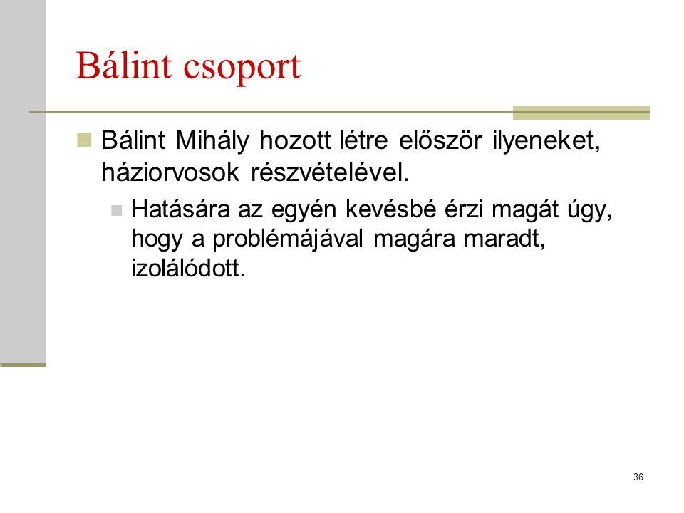 Bálint csoport Bálint Mihály hozott létre először ilyeneket, háziorvosok részvételével. Hatására az egyén kevésbé érzi magát úgy, hogy a problémájával