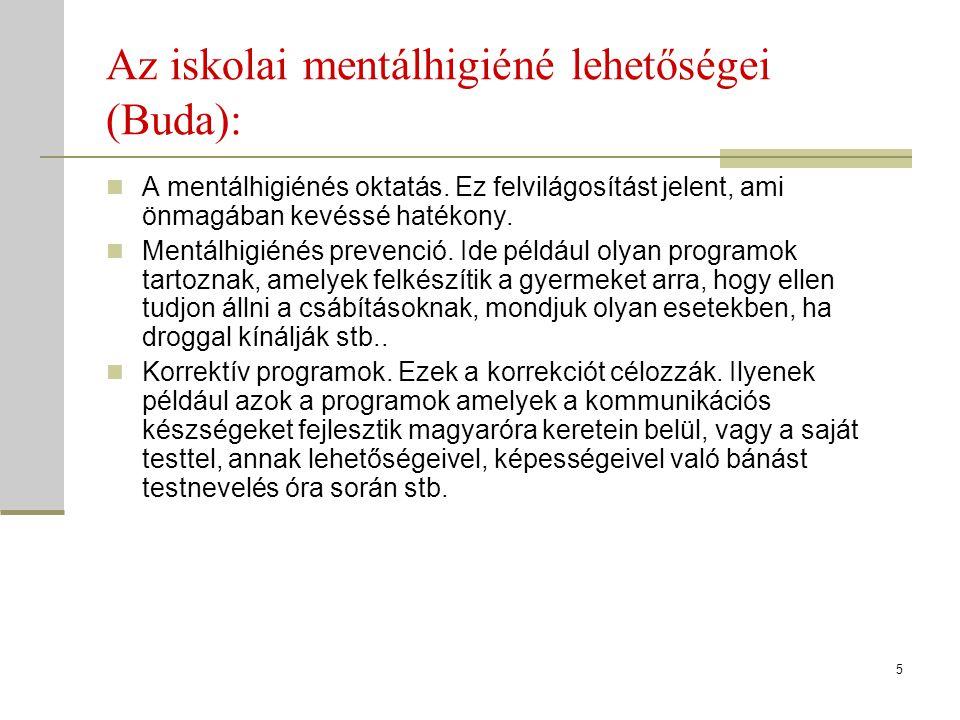 Az iskolai mentálhigiéné lehetőségei (Buda): A mentálhigiénés oktatás. Ez felvilágosítást jelent, ami önmagában kevéssé hatékony. Mentálhigiénés preve