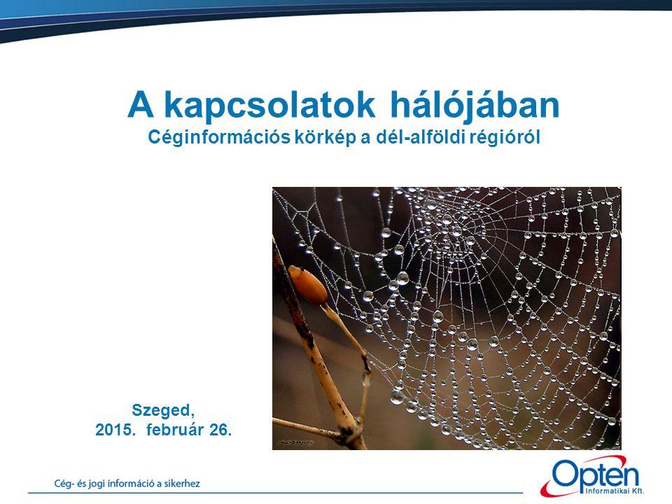 Szeged, 2015. február 26. A kapcsolatok hálójában Céginformációs körkép a dél-alföldi régióról