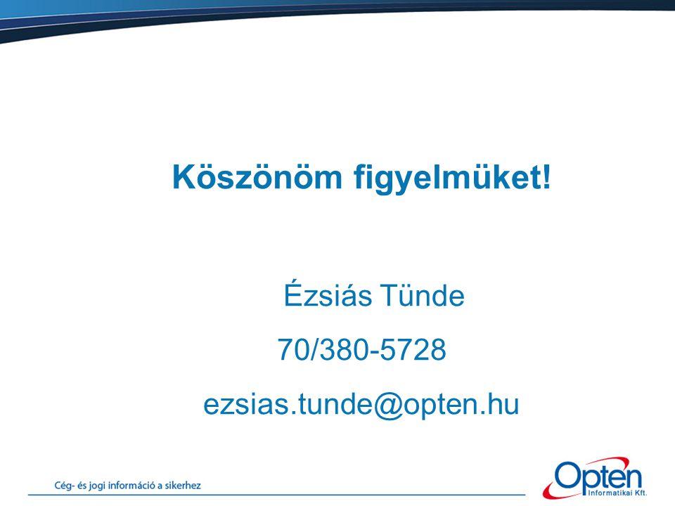 Köszönöm figyelmüket! Ézsiás Tünde 70/380-5728 ezsias.tunde@opten.hu