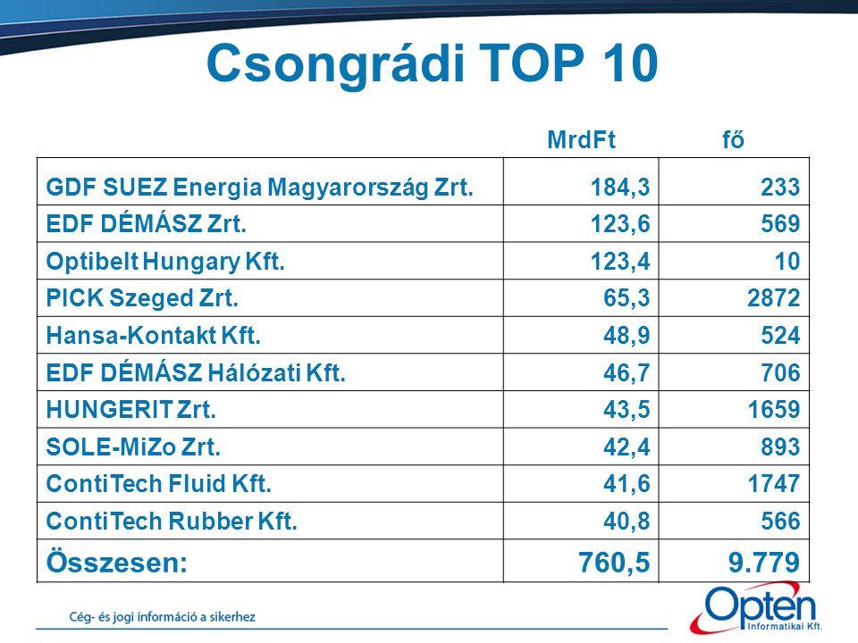 Csongrádi TOP 10 MrdFtfő GDF SUEZ Energia Magyarország Zrt.184,3233 EDF DÉMÁSZ Zrt.123,6569 Optibelt Hungary Kft.123,410 PICK Szeged Zrt.65,32872 Hans
