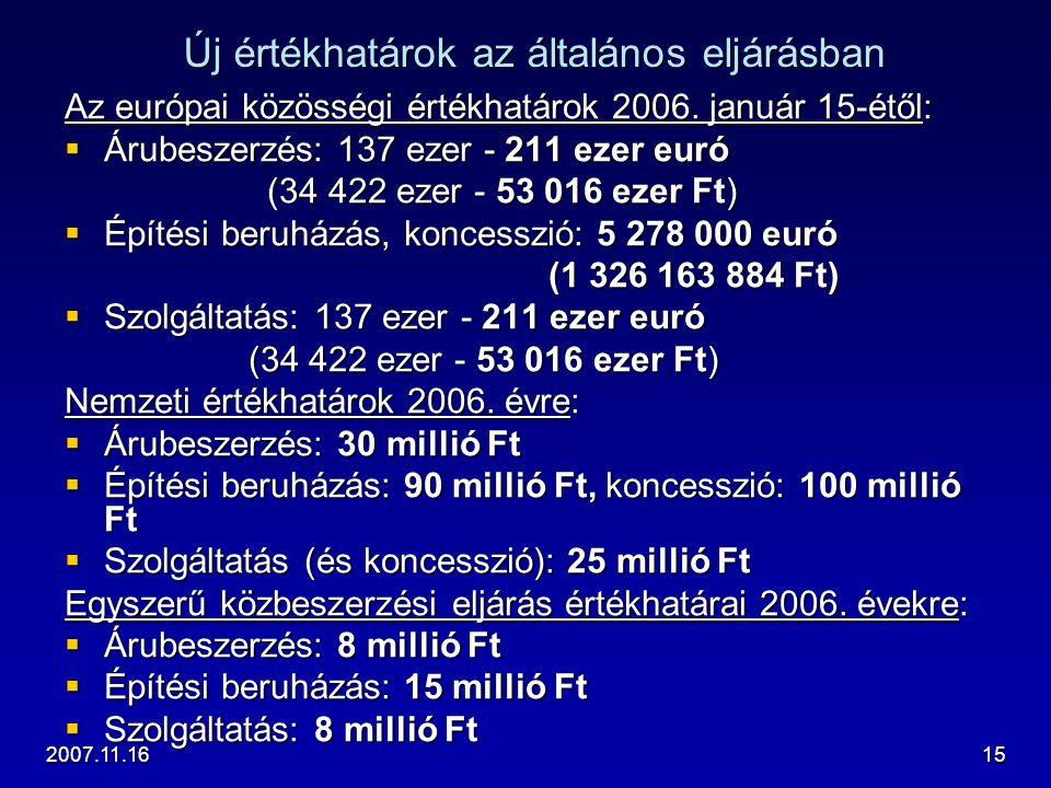 2007.11.1615 Új értékhatárok az általános eljárásban Az európai közösségi értékhatárok 2006. január 15-étől:  Árubeszerzés: 137 ezer - 211 ezer euró